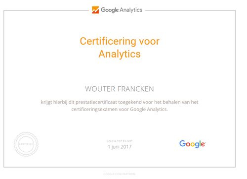Analytics Certificatie